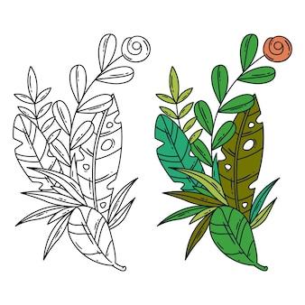 Wektor oddzielona ilustracja tropikalni liście i kwiat.