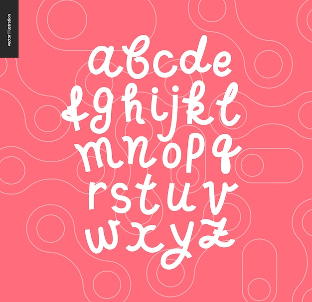Wektor odręczny skrypt alfabetu łacińskiego na czerwonym tle zarysowane kształty wzorzyste