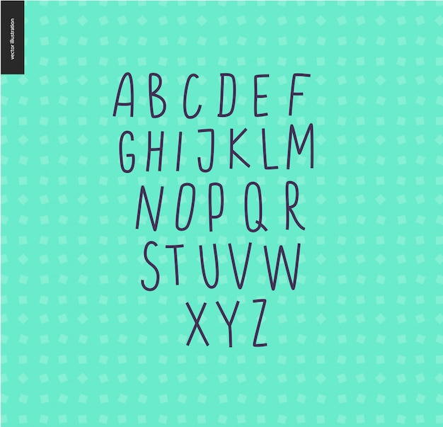 Wektor odręczny wielkie litery alfabetu łacińskiego na tle wzór geometryczny mięty