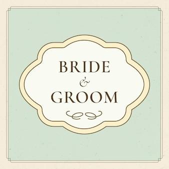 Wektor odznaka ślubna w stylu vintage na pastelowym zielonym tle
