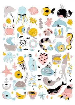 Wektor ogromny zestaw - zwierzę morskie, roślina, koral, słodkie postacie
