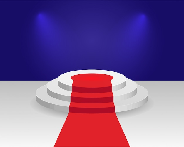 Wektor okrągłe 3d puste podium z czerwonym dywanie. trzystopniowe realistyczne cokoły zwycięzców z oświetleniem. scena wręczenia nagród, prezentacja kina, impreza nocna.