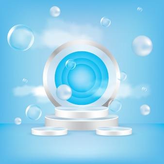 Wektor okrągłe podium, cokół lub platforma, tło do prezentacji produktów kosmetycznych.