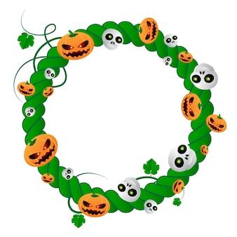 Wektor okrągłe ramki na halloween wakacje zielonych roślin z czaszkami i dyniami. ilustracja wektorowa z miejscem na tekst na białym tle