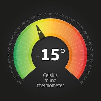 Wektor okrągły termometr celsusa