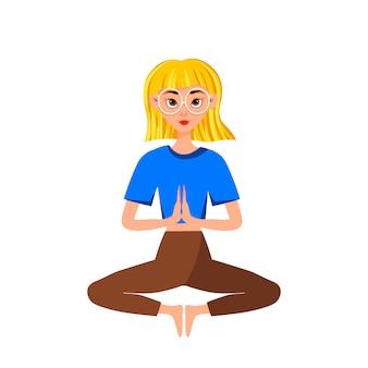 Wektor okularowy blondynka robi joga, siedząc w pozycji lotosu lub padmasana, na białym tle
