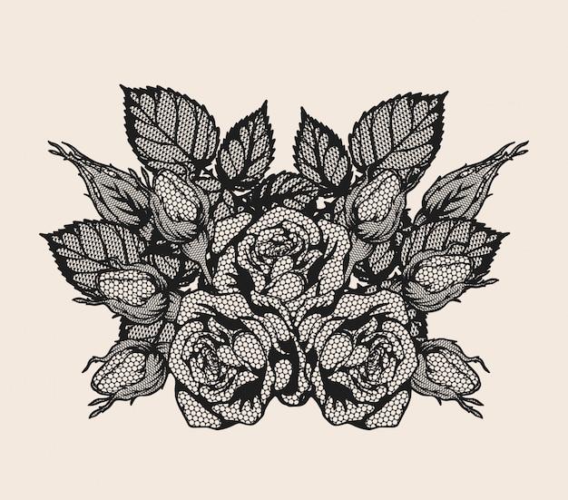Wektor ornament koronki róży przez strony rysunku