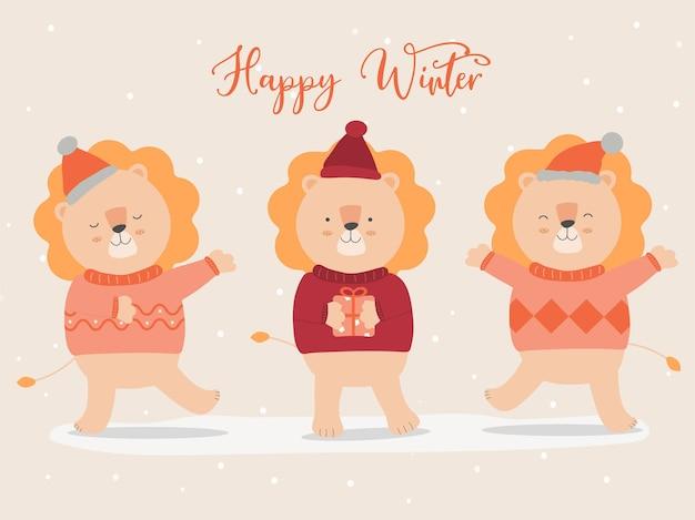 Wektor ostatniej zimy z lwem na sobie sweter i świąteczną czapkę