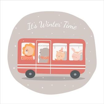Wektor ostatniej zimy z lwem, niedźwiedziem, kotem i królikiem jeździć autobusem