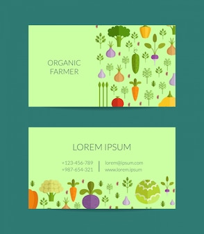 Wektor owoce i warzywa gospodarstwo ekologiczne, wegańskie, zdrowa żywność wizytówki szablon. ilustracja plakatu wegańskiego