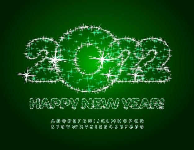 Wektor ozdobny kartkę z życzeniami szczęśliwego nowego roku 2022 gwiazdki błyszczący zestaw liter alfabetu i cyfr