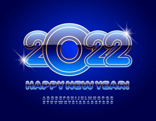 Wektor ozdobny kartkę z życzeniami wesołych świąt 2022 niebieski i złoty alfabet litery i cyfry