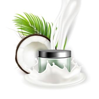 Wektor pakiet kosmetyczny naturalny krem kokosowy. rozbita gałąź kokosa i zielonych liści palmowych, odrobina mleka orzechowego i pusty pojemnik z kremowym produktem do pielęgnacji skóry. szablon realistyczna ilustracja 3d