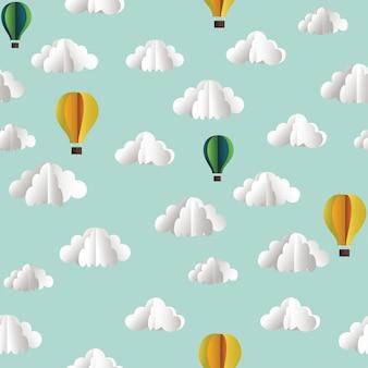 Wektor papierowy bezszwowy wzór z chmurami