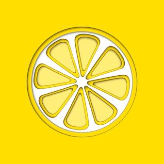 Wektor papieru cięcia żółta cytryna, kształty cięte.