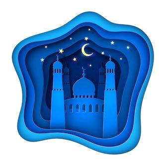 Wektor papieru wyciąć ramadan kareem ozdoba meczet