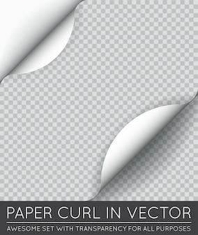Wektor papieru zawinięcie strony z cieniem na białym tle.