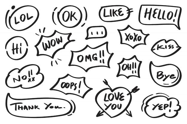 Wektor pęcherzyki mowy doodle zestaw