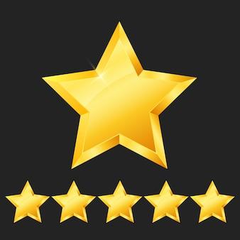Wektor pięć 5 złotych gwiazdek rangi znak błyszczące złote gwiazdki ikona ocena osiągnięcia symbol