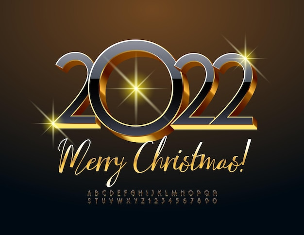 Wektor piękny kartkę z życzeniami wesołych świąt 2022 czarno-złoty zestaw liter alfabetu i cyfr