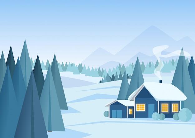 Wektor piękny świąteczny zimowy śnieżny krajobraz z górami i low poly jodły.