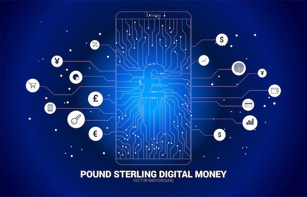 Wektor pieniądze funt szterling na ekranie telefonu komórkowego z kropki połączyć styl obwodu drukowanego linii. koncepcja cyfrowych pieniędzy i fintech.