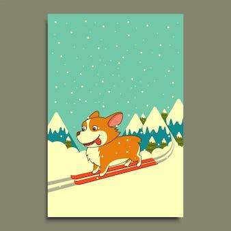 Wektor pies na nartach na tle gór zima. walijski pies corgi na nartach w górach. plakat, kalendarz, ulotka, pocztówka z życzeniami, wakacje, uroczystość, impreza, dekoracja apteki schroniska dla zwierząt domowych.
