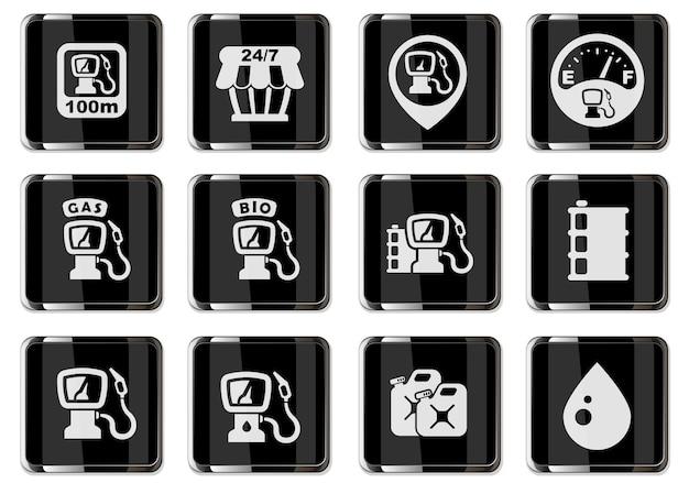 Wektor piktogramy stacji benzynowej w czarne chromowane przyciski. zestaw ikon do projektowania interfejsu użytkownika