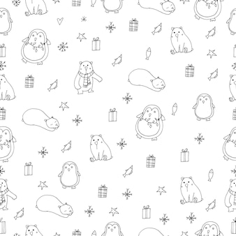 Wektor pingwiny i niedźwiedzie polarne ilustracja wzór na białym tle doodle