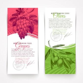 Wektor pionowe banery z ręcznie rysowane żywności