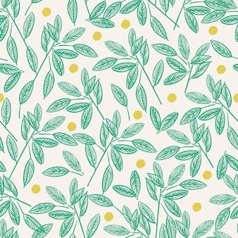 Wektor pióro rysunek liść i gałąź linia sztuki rysowania motyw ilustracja bezszwowe powtórzyć wzór różowy