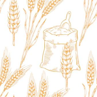 Wektor piwo bezszwowe wzór ilustracja kłosy pszenicy.