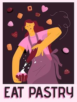Wektor plakat koncepcji jeść ciasto