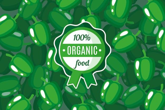 Wektor plakat lub baner z ilustracją tła zielonej papryki i okrągłej zielonej etykiety żywności ekologicznej