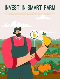 Wektor plakat przedstawiający inwestycję w koncepcję smart farm