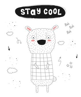 Wektor plakat z hasłem kreskówka śmieszne zwierzę i hipster ręcznie rysowane graficzne zoo