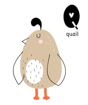 Wektor plakat z literą alfabetu z kreskówkowym zwierzęciem dla dzieci w skandynawskim stylu