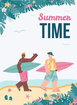Wektor plakat z młodymi przyjaciółmi płci męskiej korzystających z surfingu w okresie letnim