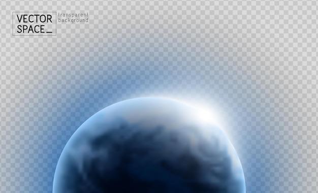 Wektor planeta ziemia ze wschodem słońca w przestrzeni na przezroczystym tle. ilustracja niebieski glob. element projektu astronomii nauki.
