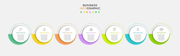 Wektor plansza projekt biznes szablon z ikonami i 7 opcji lub kroków. może być używany do diagramu procesu, prezentacji, układu przepływu pracy, banera, schematu blokowego, wykresu informacyjnego