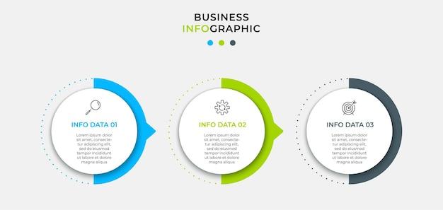 Wektor plansza projekt biznesowy szablon z ikonami i 3 opcjami lub krokami