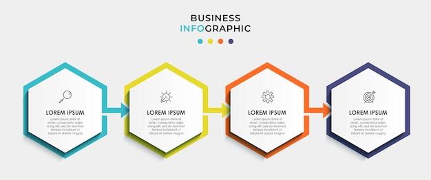 Wektor plansza projekt biznesowy szablon z ikonami i 4 opcjami lub krokami