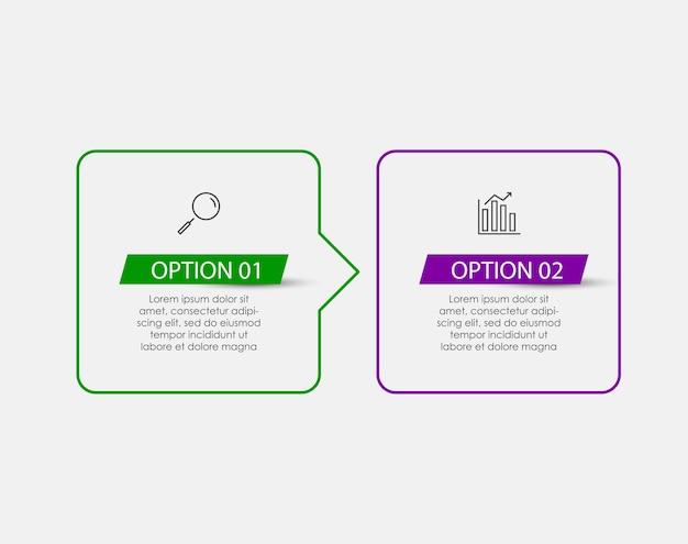 Wektor plansza projekt ilustracja biznes szablon z ikonami i 2 opcje lub kroki. może być używany do diagramu procesu, prezentacji, układu przepływu pracy, banera, schematu blokowego, wykresu informacyjnego