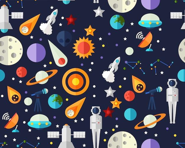 Wektor płaska bezszwowa tekstura deseniowa eksploracja przestrzeni kosmicznej.