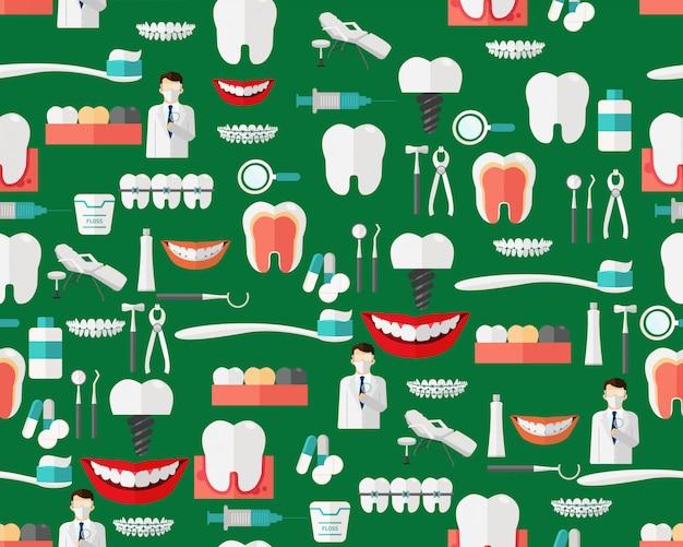 Wektor płaska bezszwowa tekstura wzór stomatologiczna opieka.