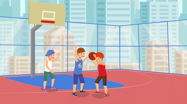 Wektor płaska gra w koszykówkę koszykówka szkolna.