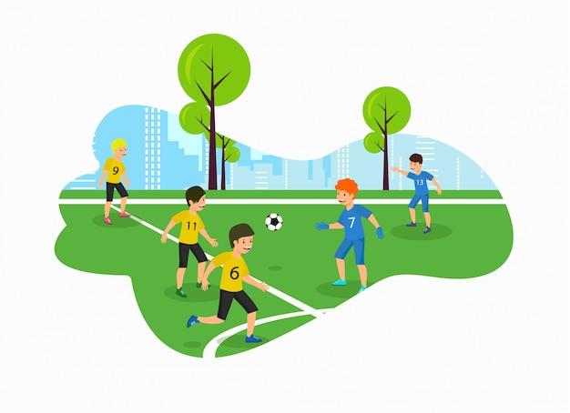 Wektor płaski dzieci mistrzostwa boisko piłkarskie.