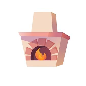 Wektor płaski kreskówka starożytny rosyjski piec z płonącym ogniem na białym tle na puste tło historyczne meble do domu, koncepcja elementów wnętrza urządzenia kuchenne, projektowanie banerów witryny sieci web