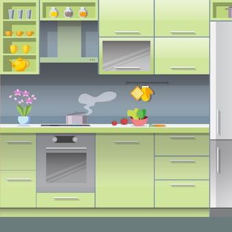 Wektor płaski kuchnia gotowanie kuchenka gazowa stoi pan.