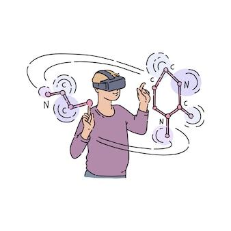 Wektor płaski młody człowiek w wirtualnej rzeczywistości słuchawki